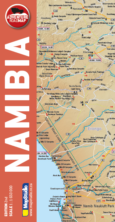 Namibia Adventure Road Map - easy-to-read full colour map of Namibia