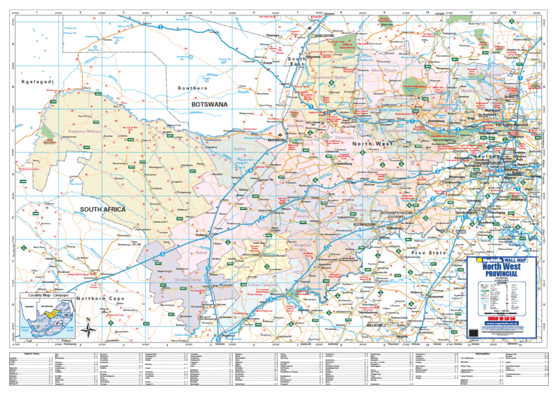 South Africa North West Map.North West Provincial Wall Map Detailed Wall Map Of North West