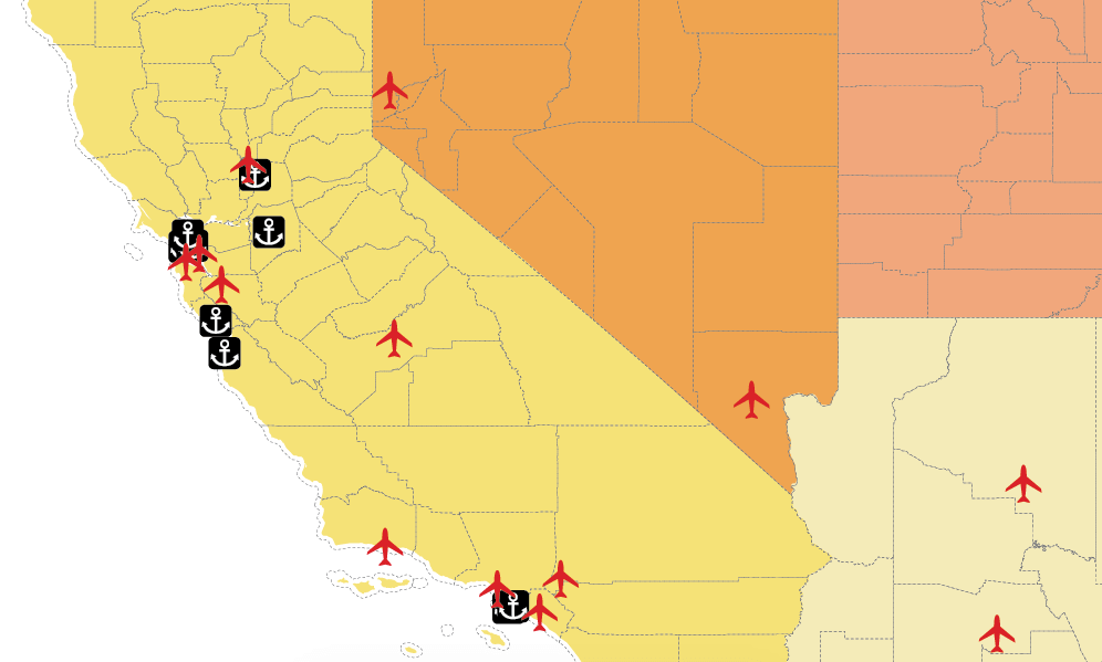 Airports and ports map