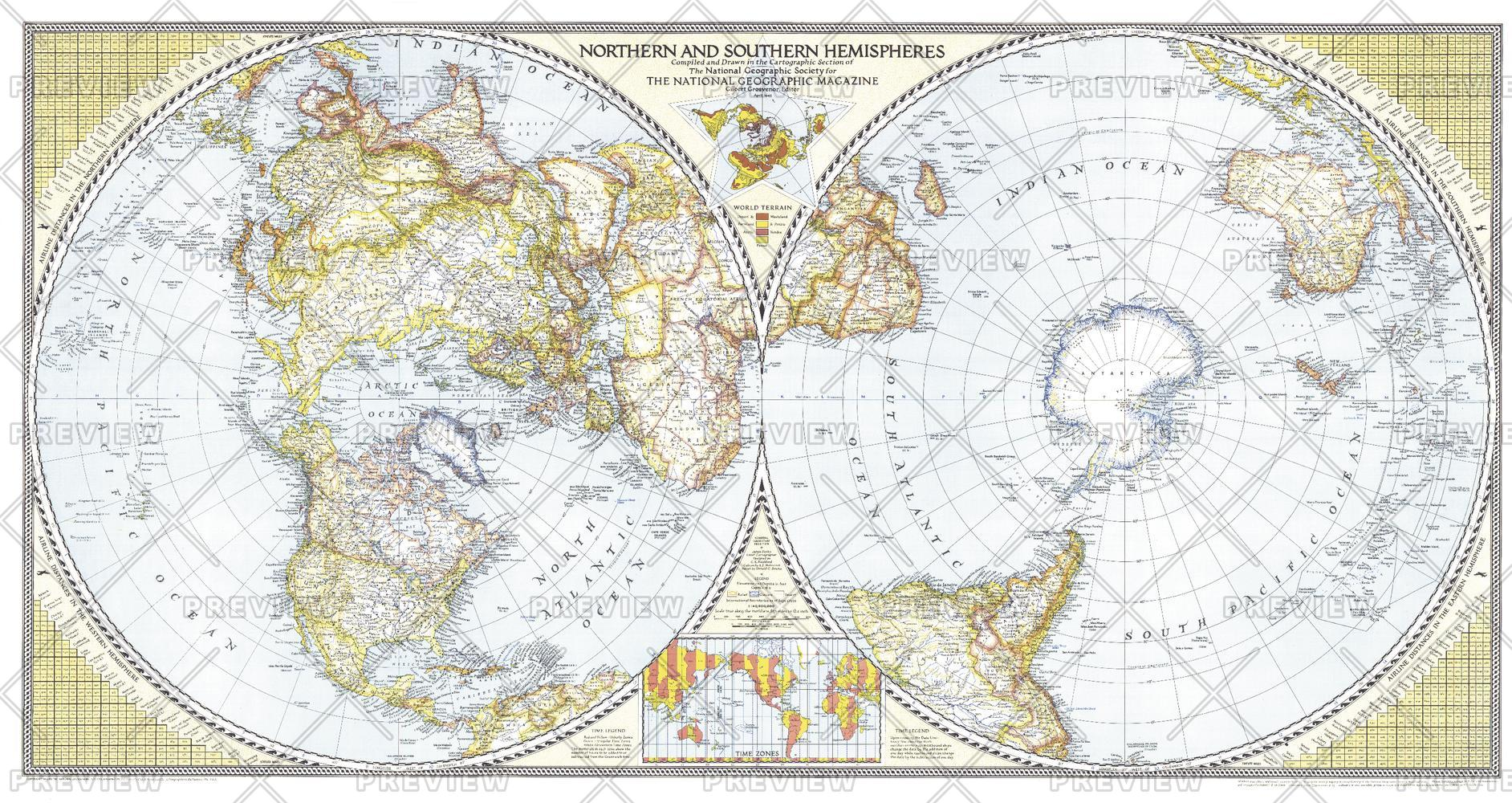 Northern Amp Southern Hemispheres Map