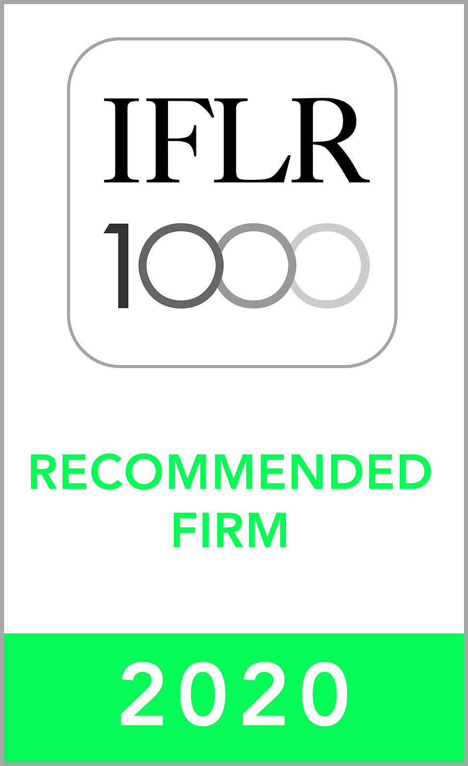 MAR & Associates recommended law firm in 2020 by IFLR1000