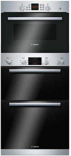 bosch series 6 double oven 45cm compact microwave pack b1zgb01944