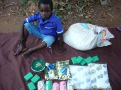 The first help we gave to Gift was a set of soap bars and other toiletries and some rice.