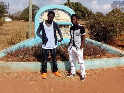 Boys at school entrance
