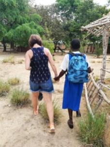Laura and Malita walking together