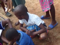 Children and their new shoes