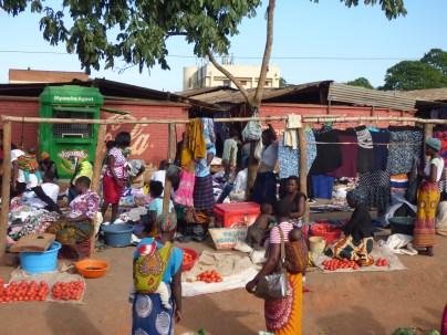 Walking around the market in Mzuzu