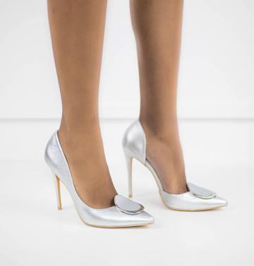 Abra high heel court shoe silver