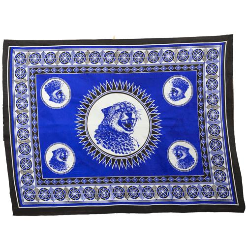 Fabric - Animal Khanga / Cheetah blue