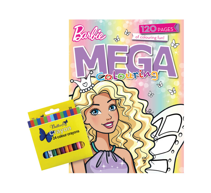 Barbie Colouring Book with 24 Wax Crayons