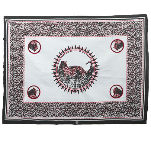 Fabric Animal Khanga Cheetah Whit and Red