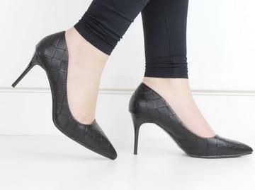 Flo weave pu court on 8cm heel black