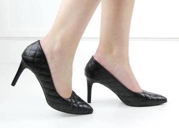 Gloria quilted court heel black