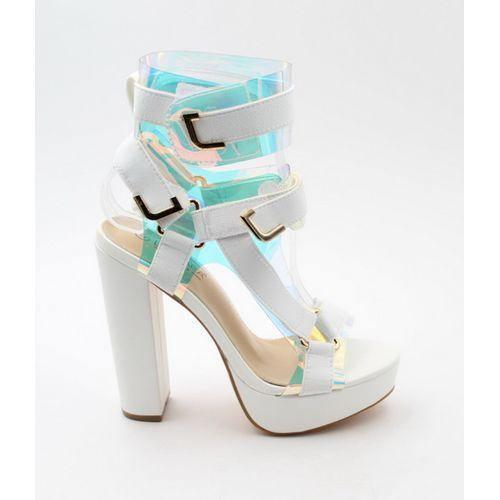JLO platform Funky strappy sandal neon white