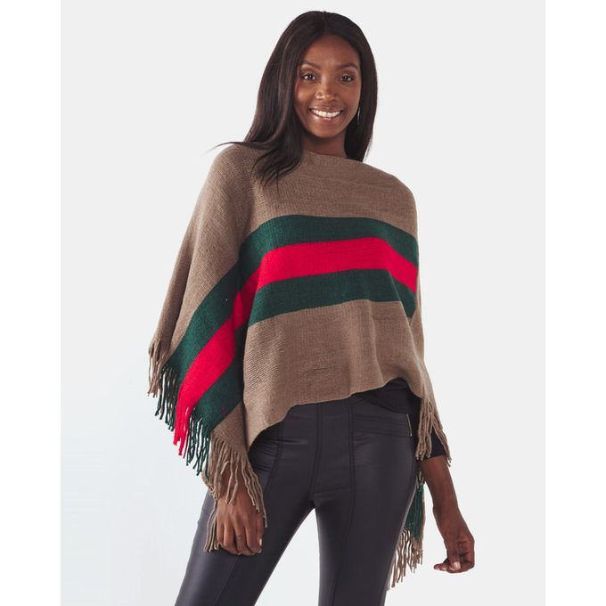 Joy Collectables Middle Stripe Poncho Beige