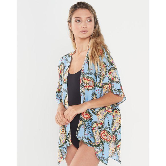 Joy Collectables Paisley Short Jacket Kaftan Blue