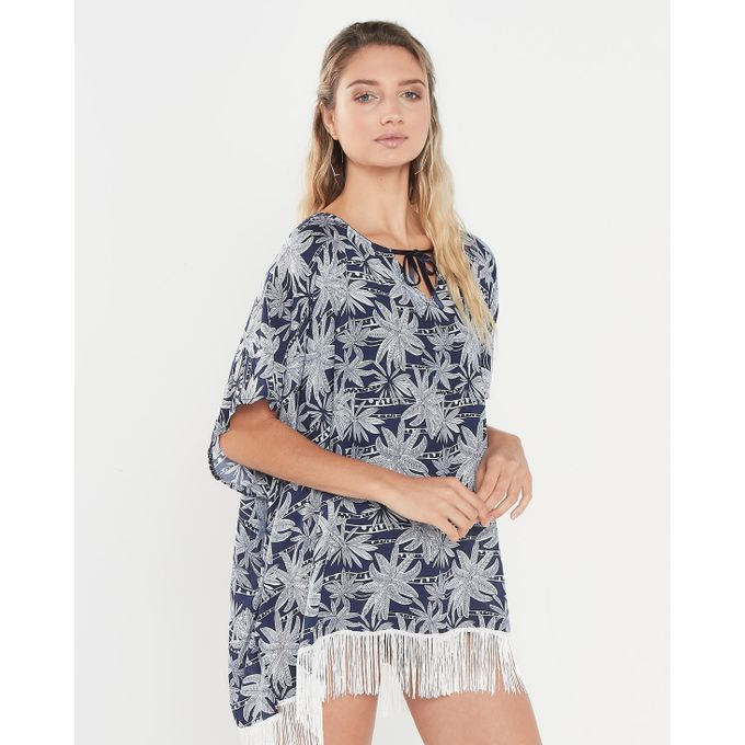 Joy Collectables Palm Trees Top With Fringe Blue And White