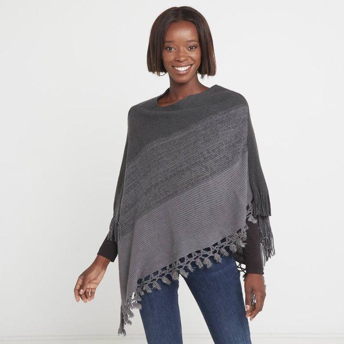 Joy Collectables Stripe Poncho Charcoal-Grey