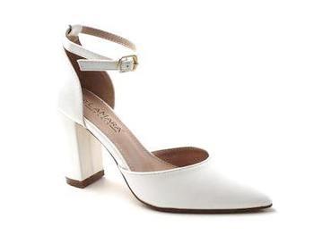 Missy open waist pointy on block heel GLITTER white