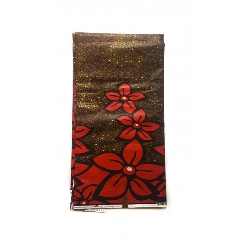 Red Petals African print fabric