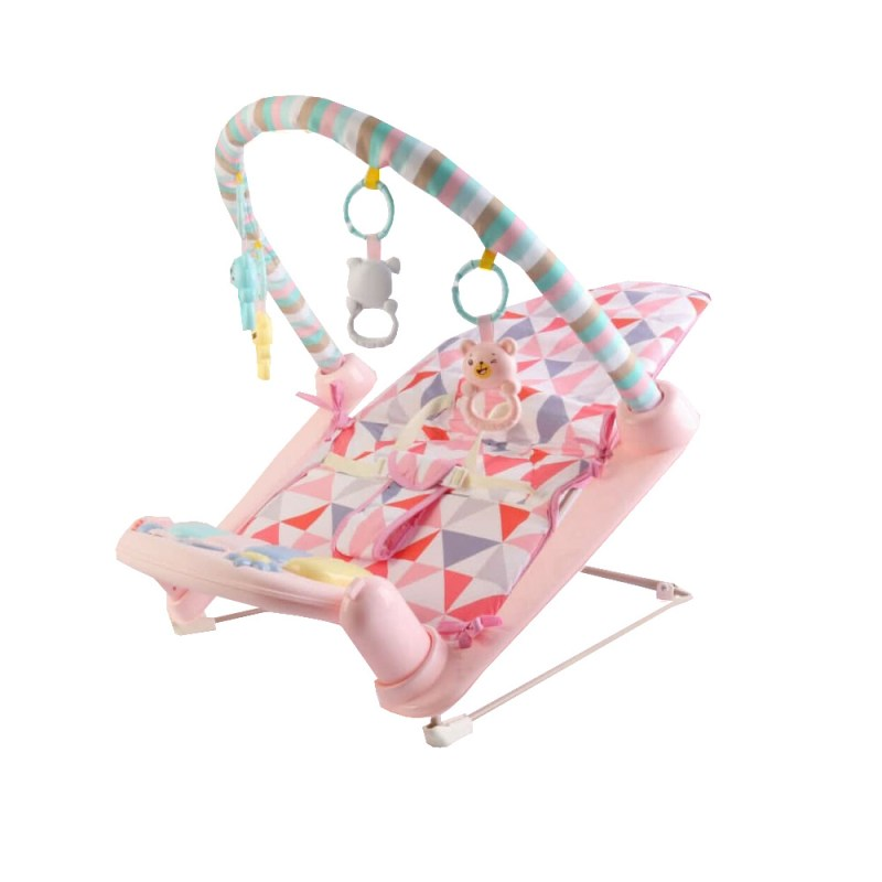3 In 1 Toddler Rocker Bouncer Chair With Piano Playmat Pink