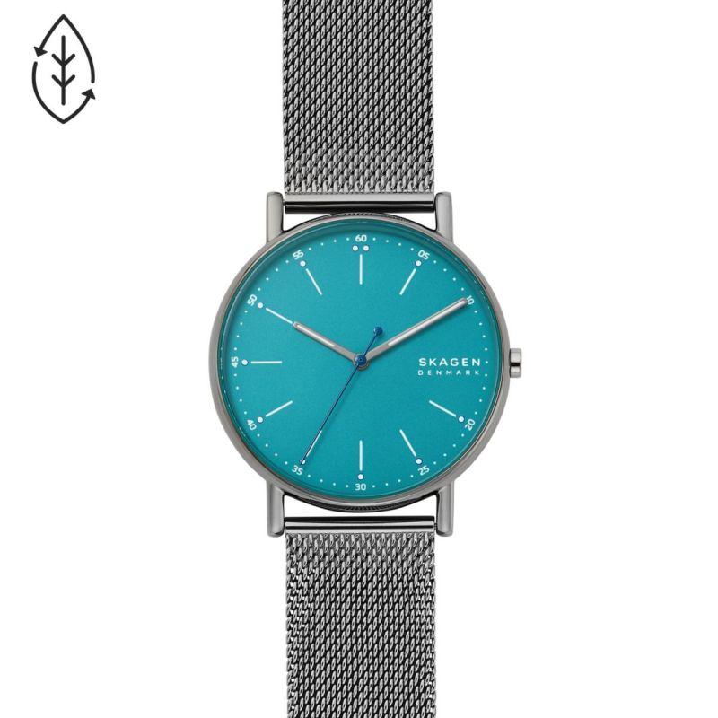 Signatur Three-Hand Gunmetal-Tone Steel Mesh Watch - SKW6743
