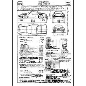 Scheda di omologazione C.S.A.I. 1969 Ferrari Dino 246 GT