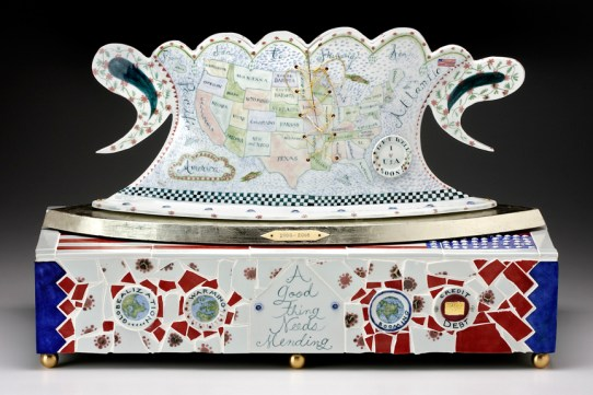 "Bushwacked, 2008, 18"" x 27"" x 12"", porcelain, brass, bone, ink. Photo: John Polak In the collection of; Dr. Paul and Melinda Sullivan"