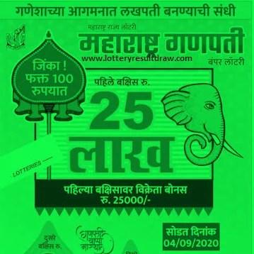 Maharashtra Ganpati Bumper Lottery 2020 Result