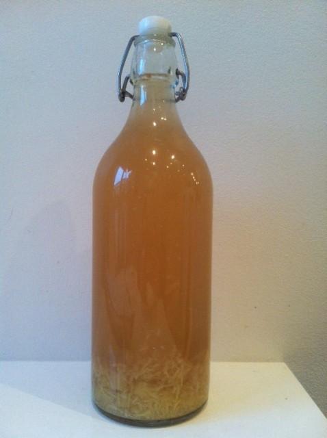 1 liter stark ingefärsdryck med ingefärsbitar och färskriven ingefära. Foto: privat