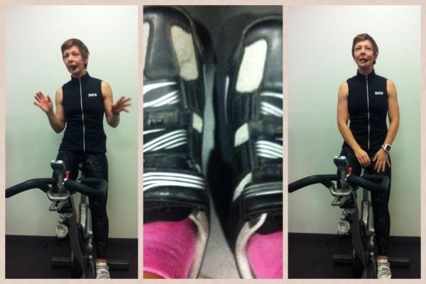Camilla ger instruktioner och jag har rosa strumpor. Foto: privat