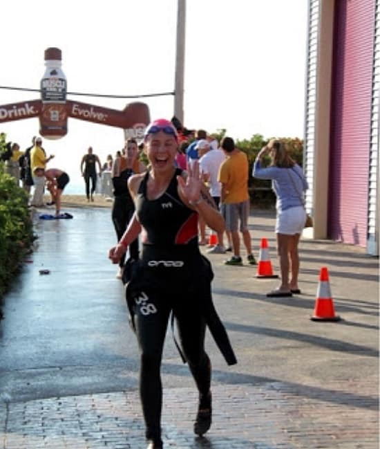 It was a long Run to T1 at Rev 3 Maine Oly Tri, I pulled my wetsuit half-way down as I was getting out of the water.