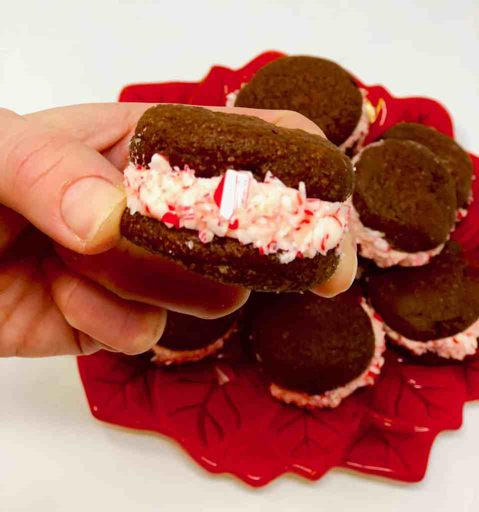 Chocolate Sandwich Cookies rolled in crushed candy canes