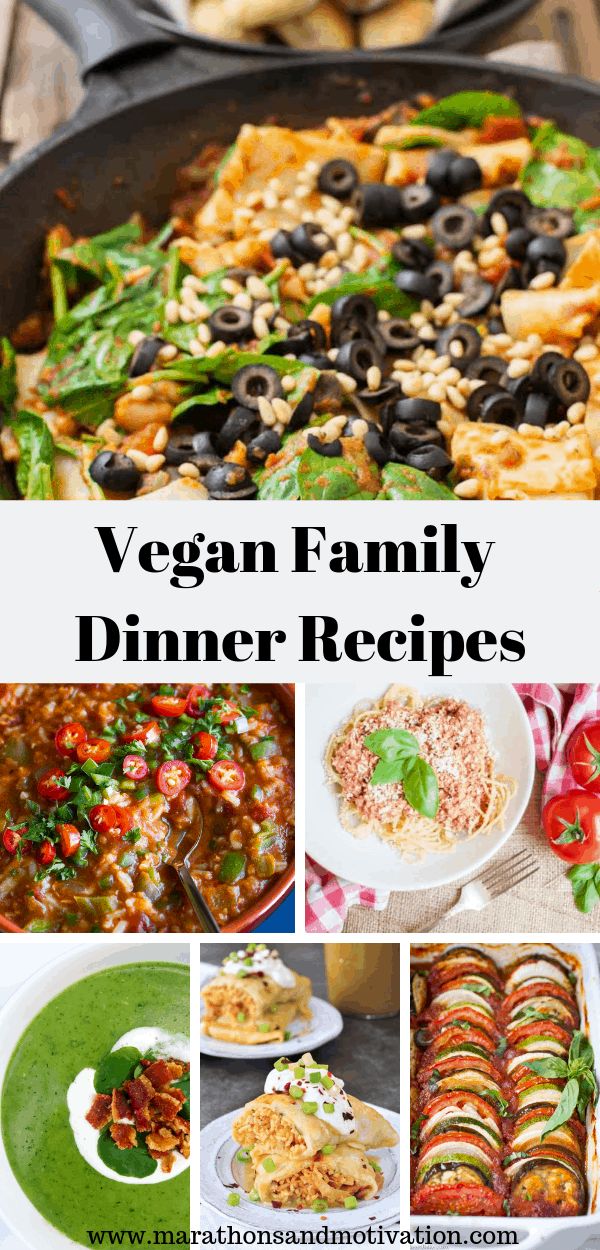 A collage of vegan family dinner recipes