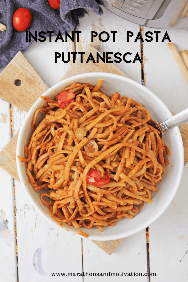 Pasta Puttanesca on cutting board