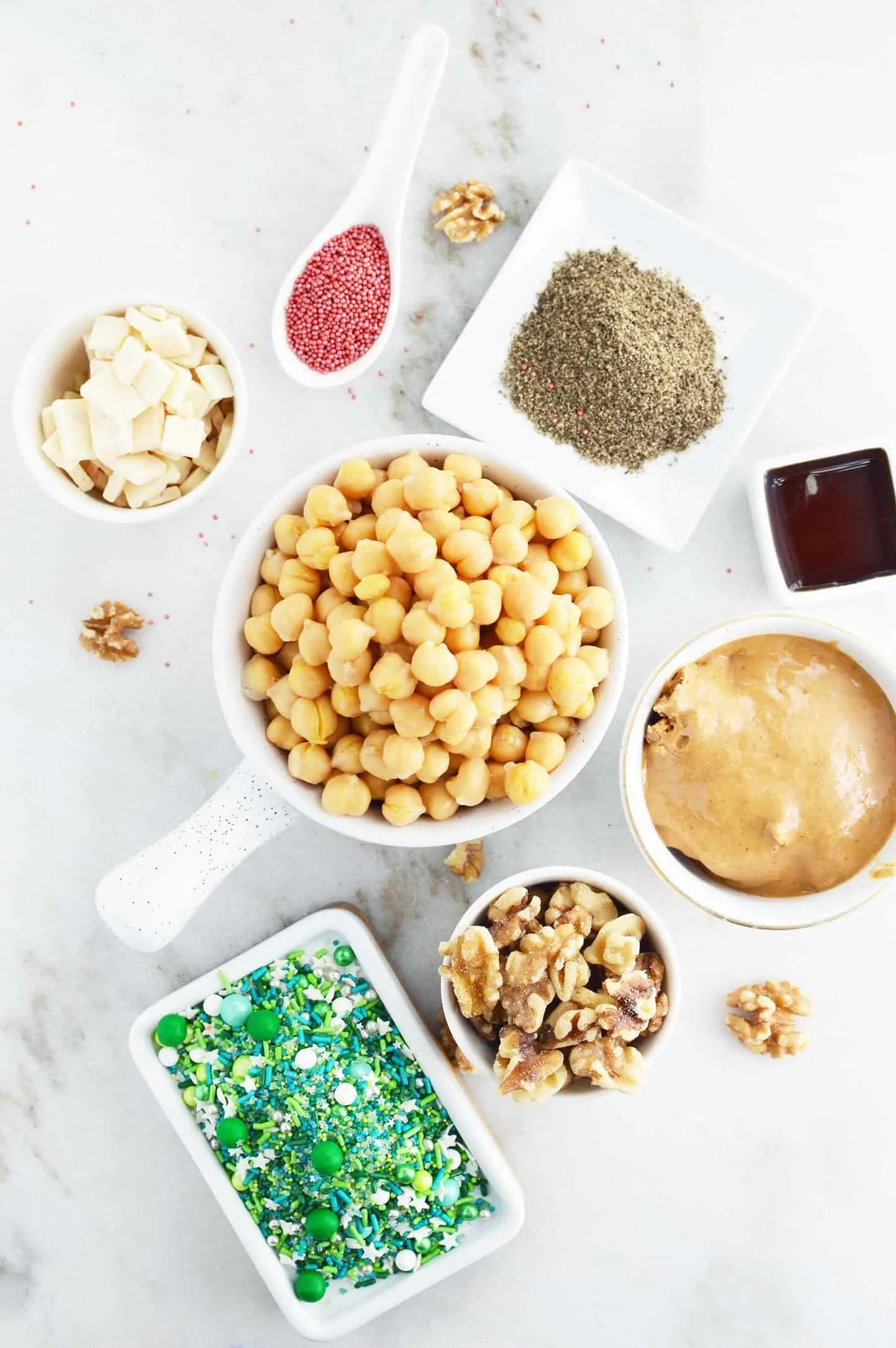 Healthy Edible Cookie Dough ingredients.