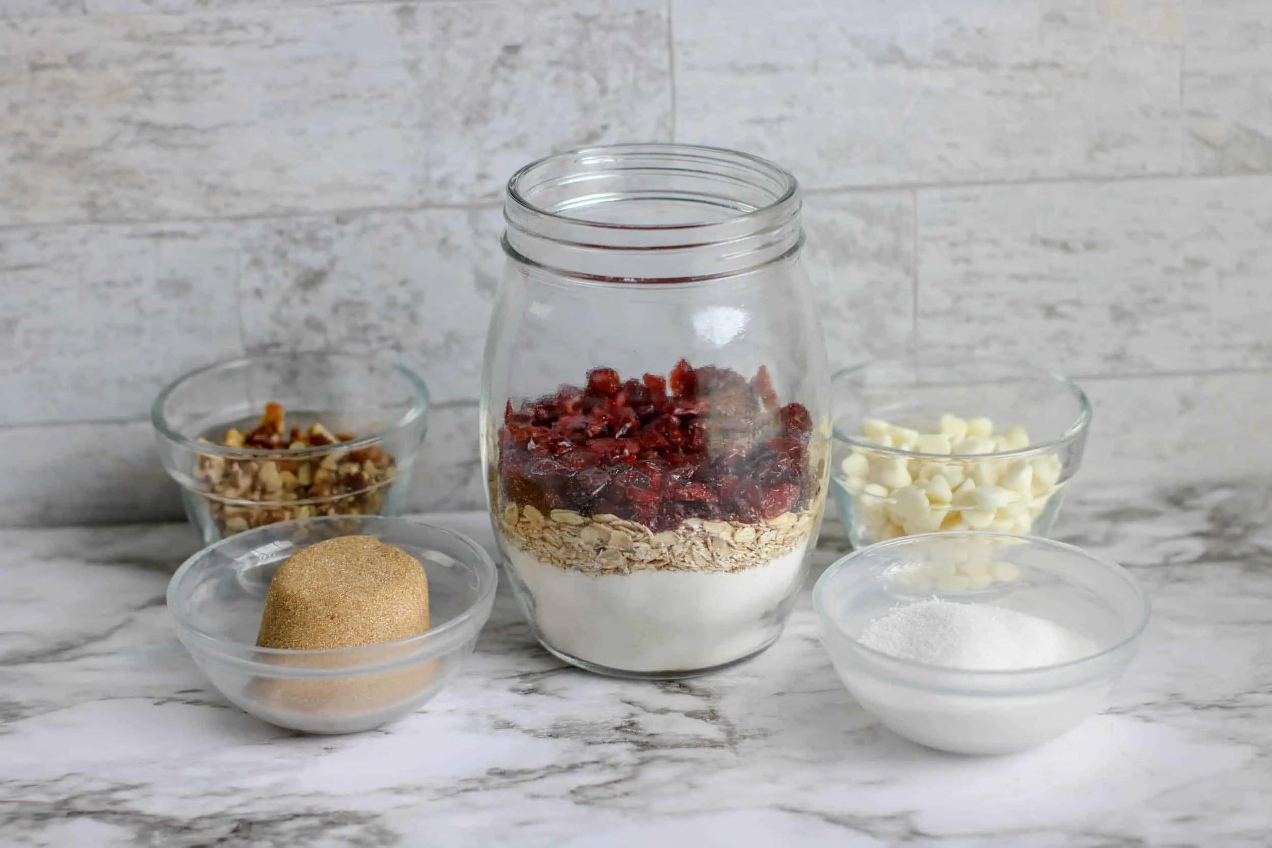 White Chocolate Cranberry Cookie Mix Jar Ingredients