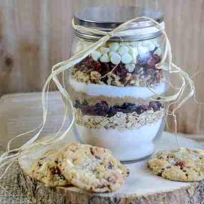 White Chocolate Cranberry Cookie Mix Jar