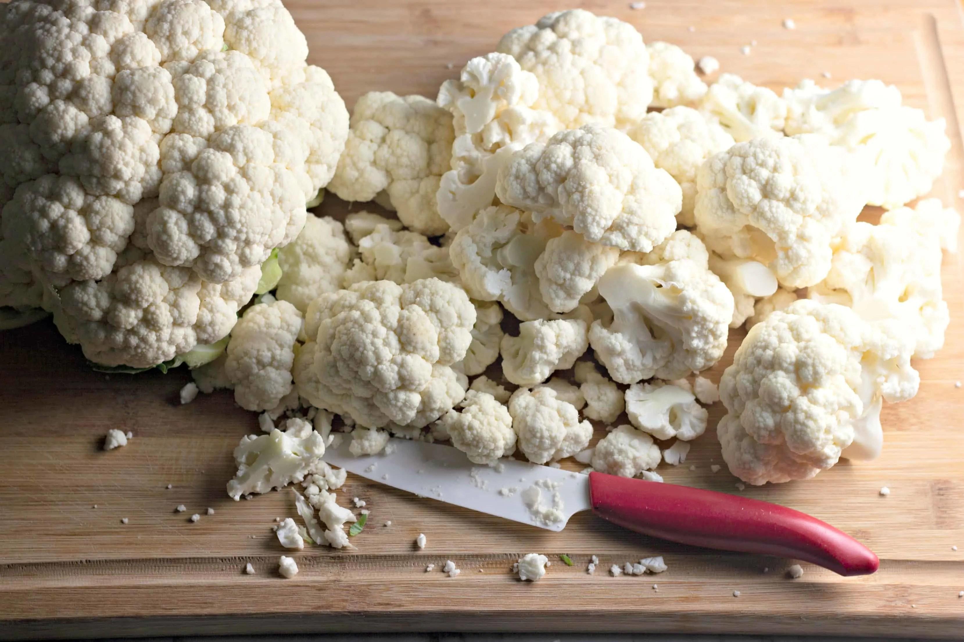 Cauliflower on cutting board