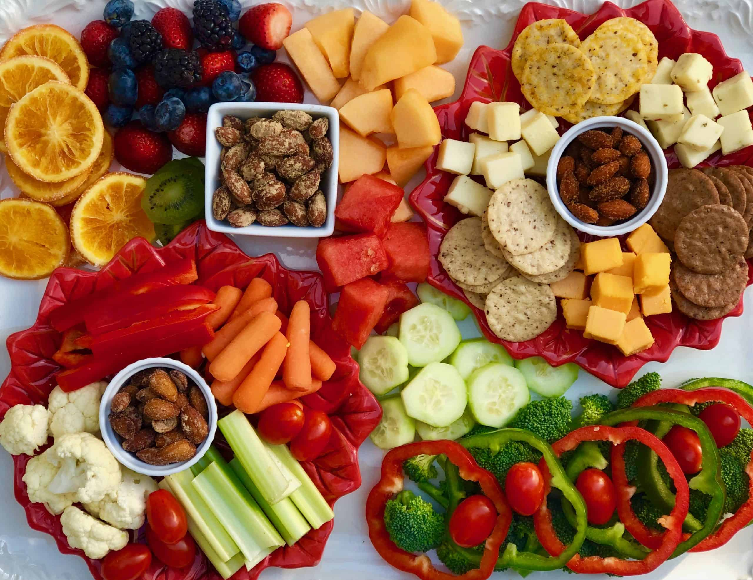 Holiday fruit, vegetable, cheese and almond platter