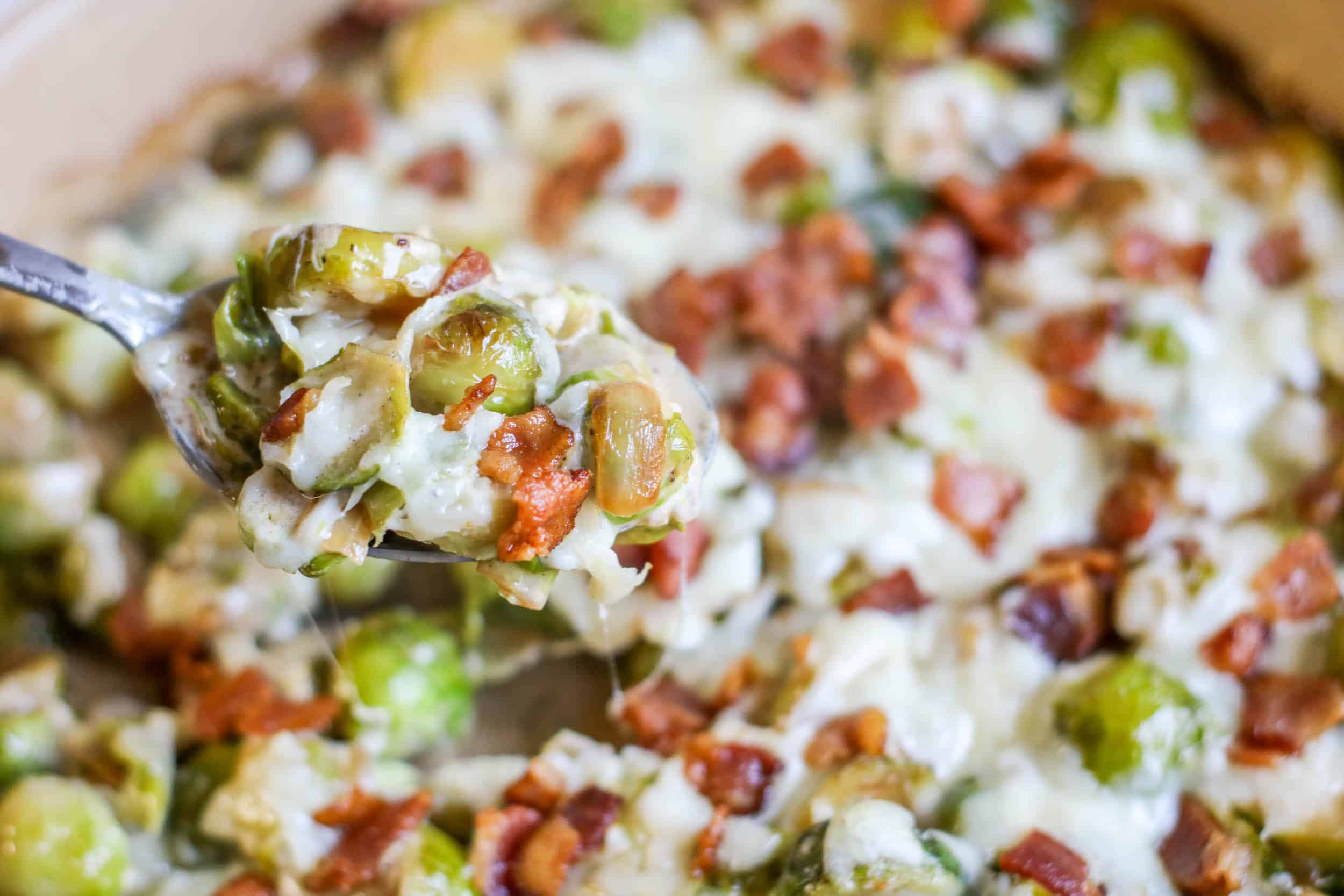 Cheesy Bacon Brussels Sprouts Casserole hot out of the oven.