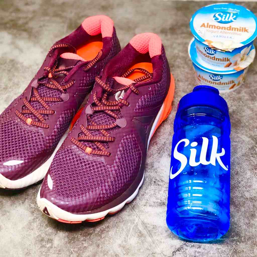 Purple sneakers, Silk water bottle and Silk Yogurt