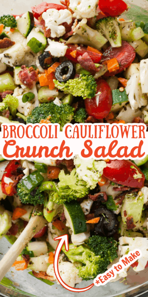 Broccoli Cauliflower Crunch Salad Pin for Pinterest.