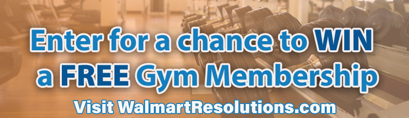 Banner for Walmart Sweepstakes to win a free gym memberships
