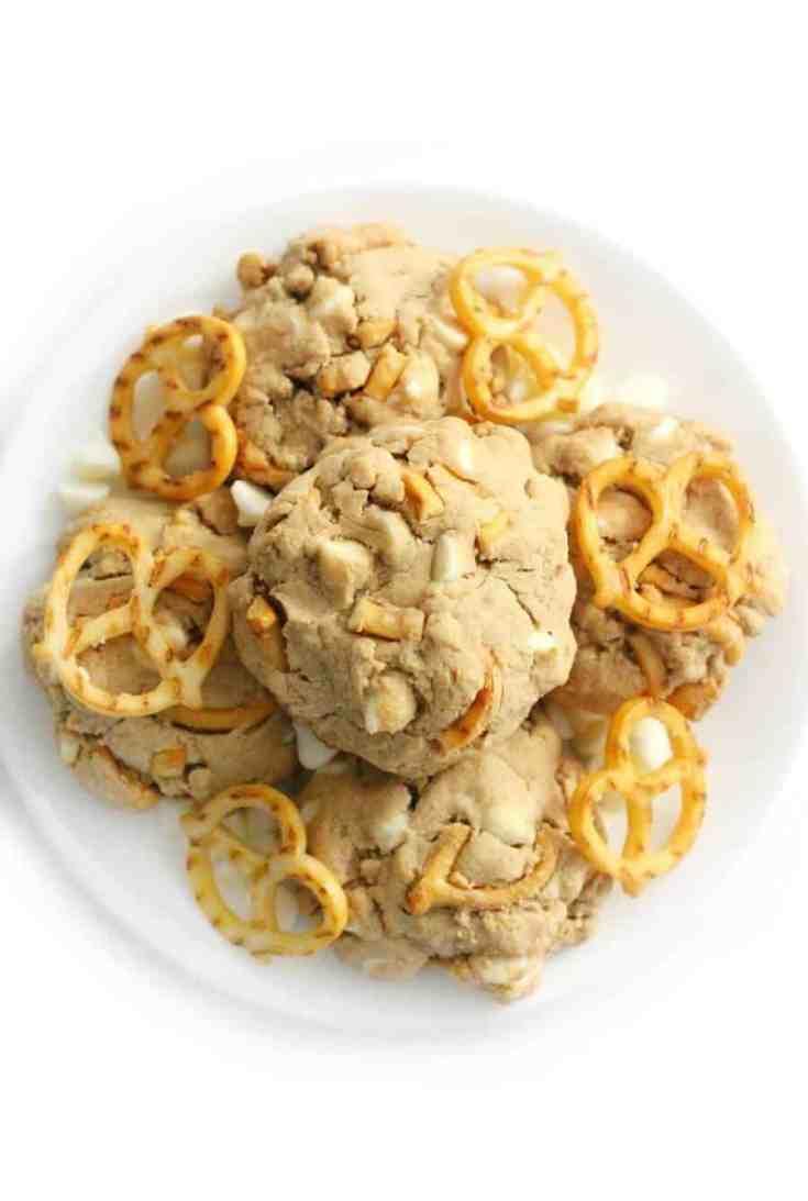 Vegan White Chocolate Chip Pretzel Cookies (Gluten-Free, Allergy-Free)