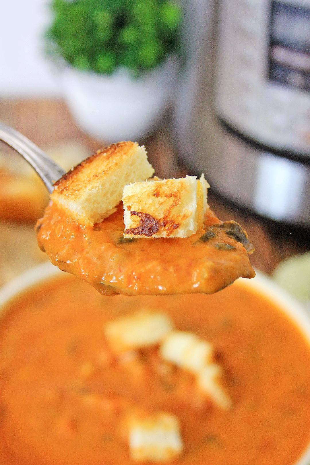 Close up of tomato soup.