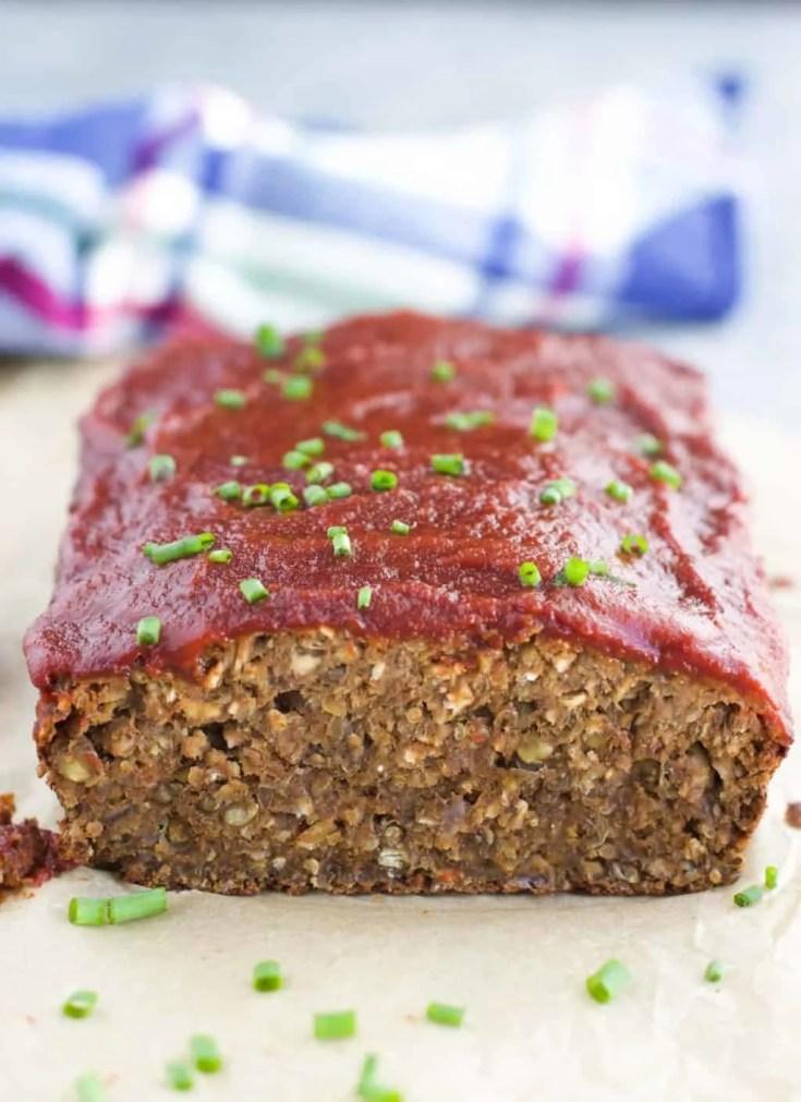 Lentil Mushroom Vegan Meatloaf