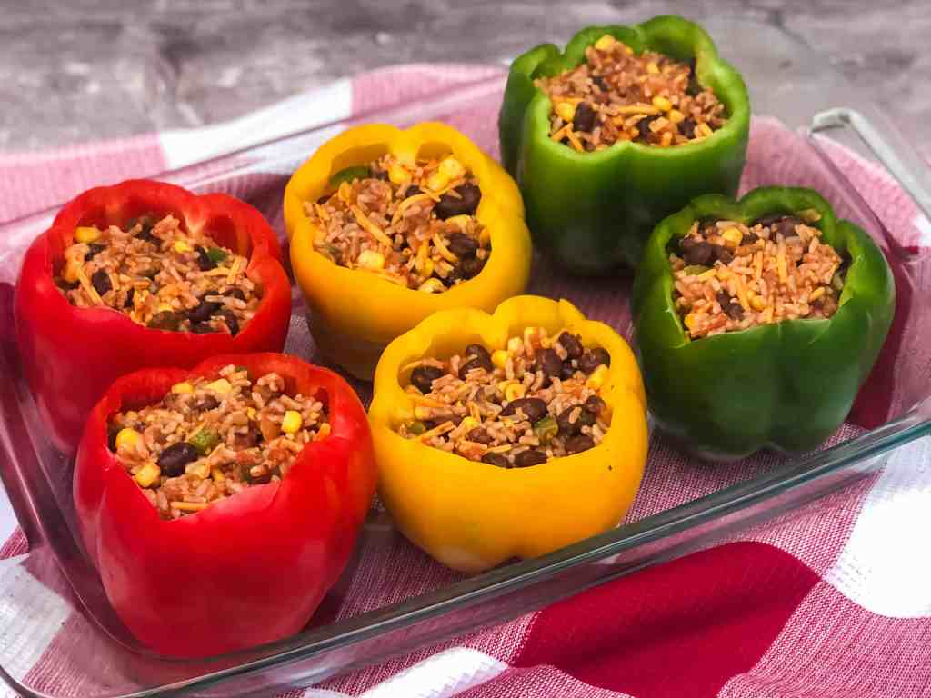 Stuffed Bell Peppers ready for the oven.