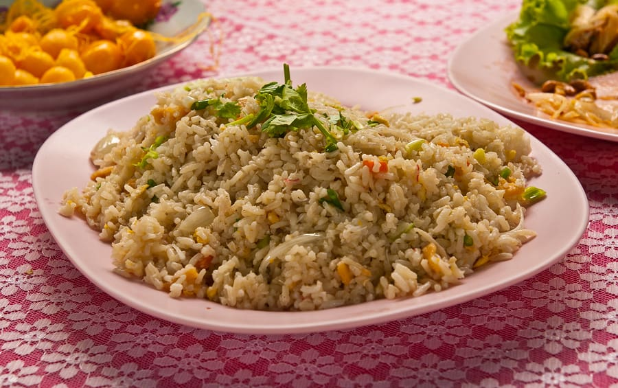 Thai style fried rice ready to serve on dish
