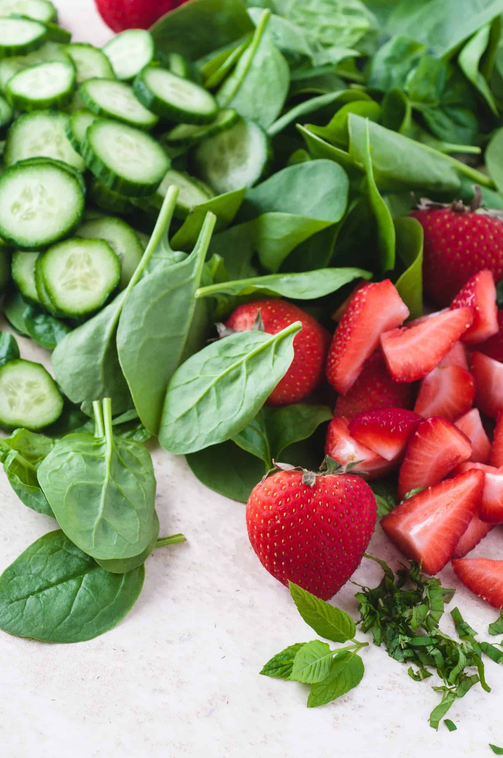 Baby Spinach, Sliced Cucumbers and Sliced Strawberries
